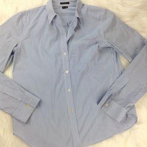 Theory Cotton Blend Blue/White Striped Button Down